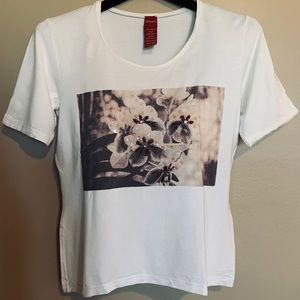 Olsen - women's graphic embroidered tee (Size 6)